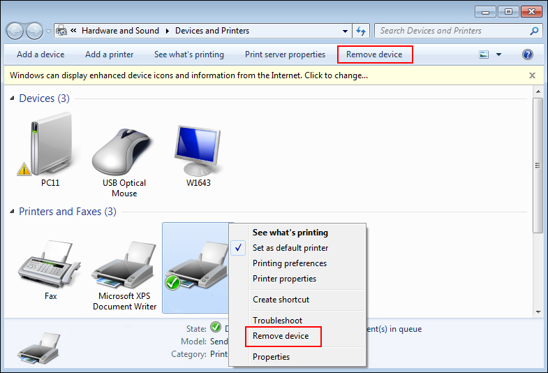 Remove Printer Device